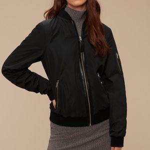 Aritzia Mackage Black Cara Bomber Jacket Leather M